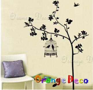 樹與鳥籠 DIY組合壁貼 牆貼 壁紙 無痕壁貼 室內設計 裝潢 裝飾佈置【橘果設計】