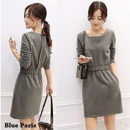 短洋裝 - 一釦摺疊設計鬆緊腰長袖連衣裙【29167】藍色巴黎 - 現貨+預購 0