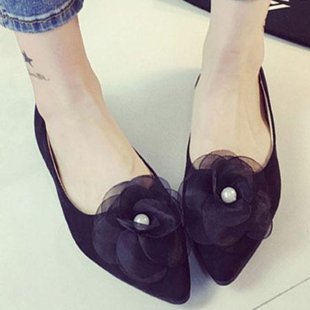尖頭鞋 浪漫珍珠花朵尖頭平底包鞋【S1583】☆雙兒網☆ 5