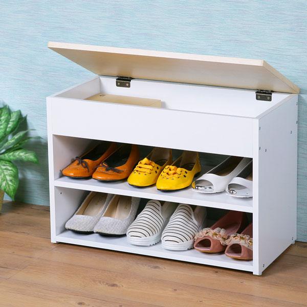 穿鞋椅 鞋架 鞋櫃 坐式鞋櫃 置物櫃 收納架 玄關櫃《Yostyle》 雅緻掀蓋式穿鞋椅-楓木+白色