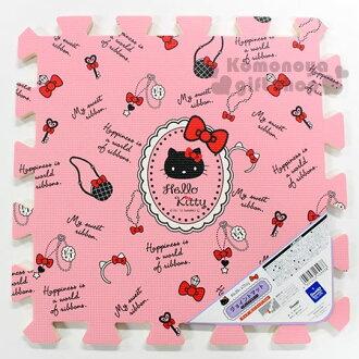〔小禮堂〕Hello Kitty 拼圖地墊《粉.黑大臉.鑰匙.項鍊.滿版》地板巧拼.遊戲軟墊