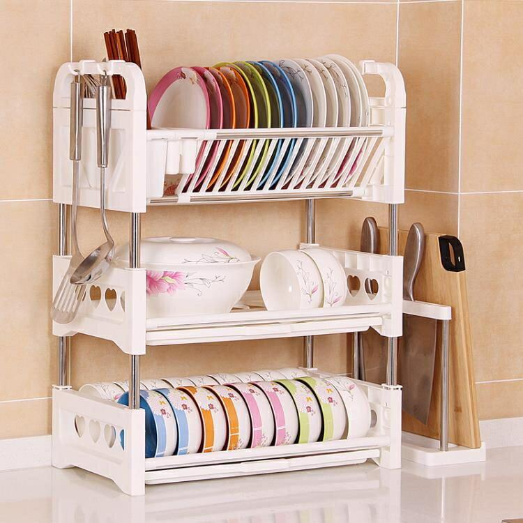 三層碗架碗碟瀝水架臺面廚房置物架洗放碗盤子塑料碗筷收納盒碗櫃ATF 全館特惠9折