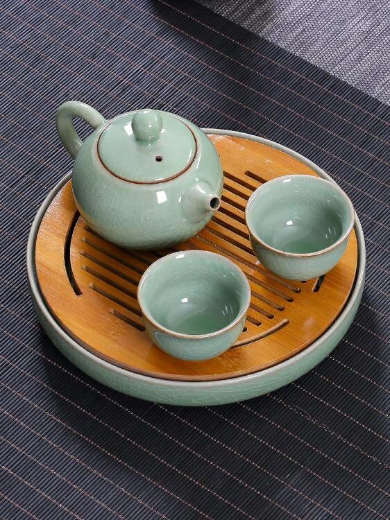 茶具 陶瓷一壺兩杯功夫茶具家用客廳泡茶便攜青瓷茶壺簡易套裝品茗二杯 全館特惠9折