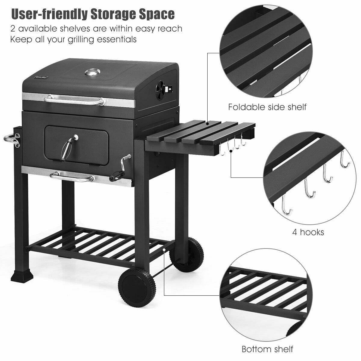 Costway Charcoal Grill Barbecue BBQ Grill Outdoor Patio Backyard Cooking  Wheels Portable