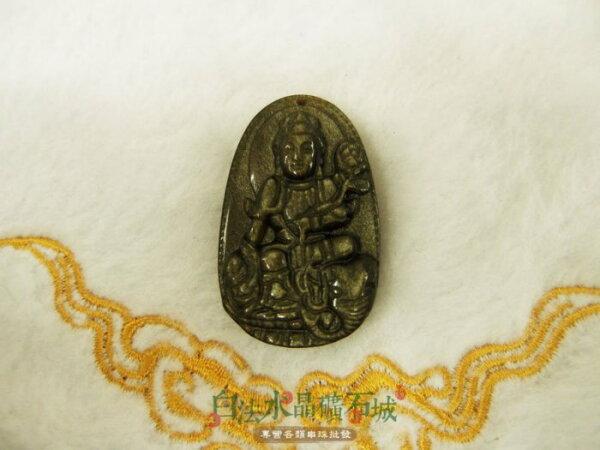 白法水晶礦石城墨西哥天然-金沙黑曜石金曜石37mm墜子普賢普薩-圖案12生肖龍蛇年八大守護神