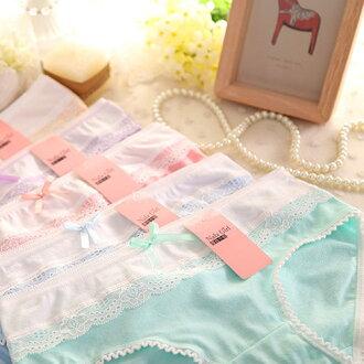 日系少女拼接多色純棉內褲 均碼 【庫奇小舖】不挑色出貨