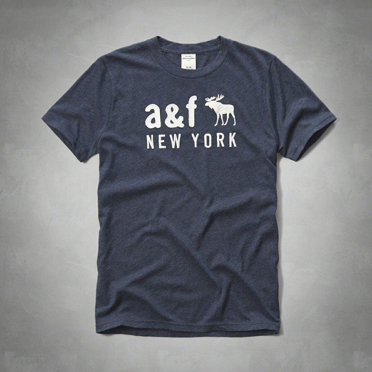 美國百分百【Abercrombie & Fitch】T恤 AF 短袖 麋鹿 kids 女 男 S號 NY 藏藍 F468