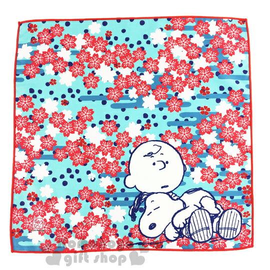 〔小禮堂〕史努比 日製餐墊布《淺藍.多櫻花.查理布朗35x35cm》