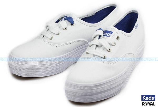 Keds 新竹皇家 TRIPLE WHITE 白色 帆布 厚底 休閒鞋 女款 NO.I5198