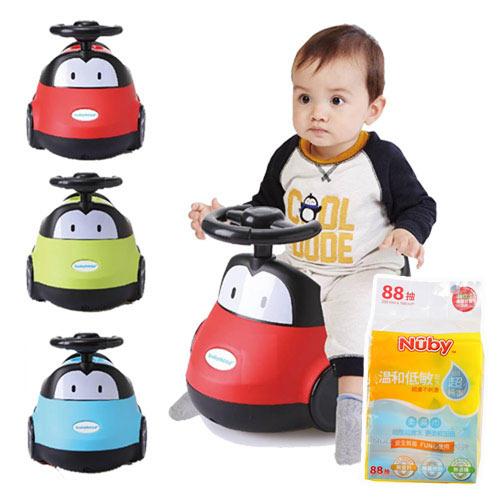 【奇買親子購物網】babyhood小汽車座便器+NubyEDI超純水柔濕巾88抽1串
