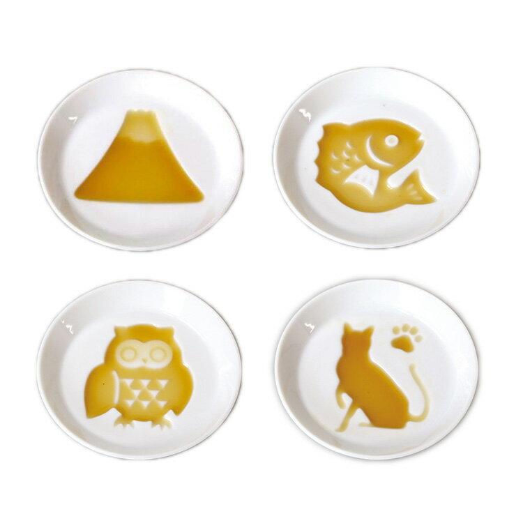 日本製 美濃燒白瓷醬油碟 陶瓷醬汁 小碟子 醬油碟 糖果碟富士山鯛貓頭鷹貓咪 共五款 日本進口正版 262304