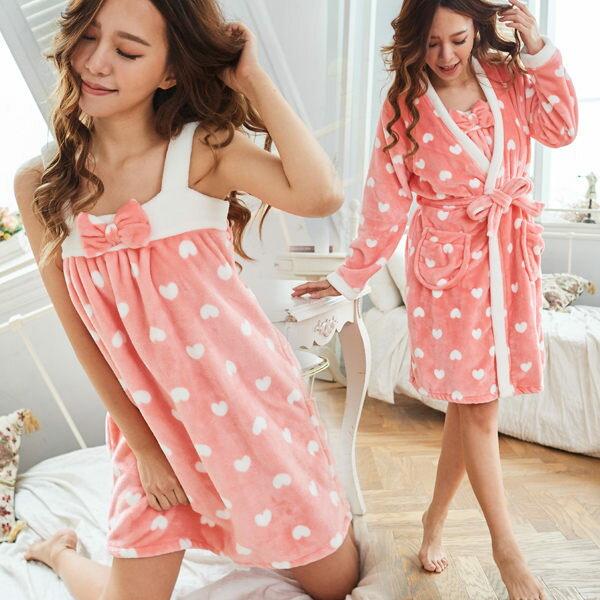 冬季睡衣(少量)超柔嫩2件組睡衣-睡裙+睡袍(雪貂絨加厚款)-保暖、居家服_蜜桃洋房