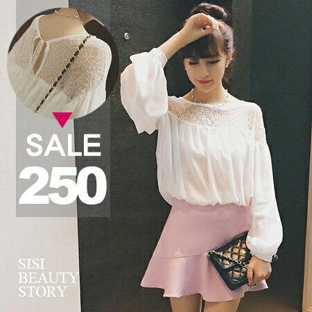 SISI~L6035~ 淑女氣質露肩鏤空蕾絲拼接雪紡後綁帶娃娃衫上衣