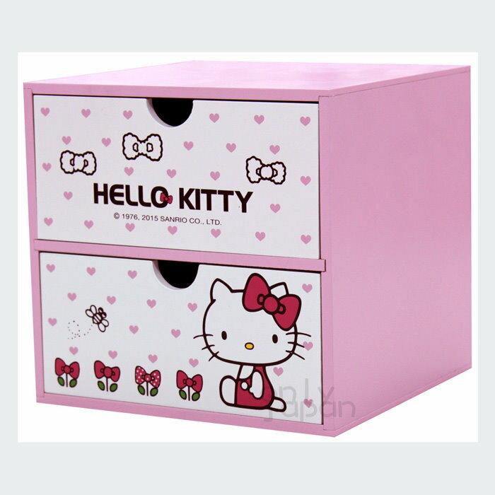 【真愛日本】18020200002 兩抽屜置物盒-KT蝴蝶結花粉 三麗鷗 kitty 凱蒂貓 抽屜櫃 置物櫃 木製