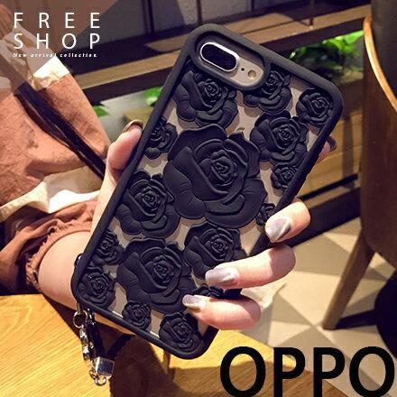 Free Shop:FreeShop歐珀OPPOR9sR11PLUS鏤空黑紅玫瑰花散熱手機殼防摔保護套軟殼附送掛繩【QAAMK7068】