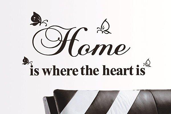 BO雜貨【YV2789】可移動 時尚組合相框壁貼 牆貼 壁貼紙 創意璧貼 蝴蝶 英文HOME