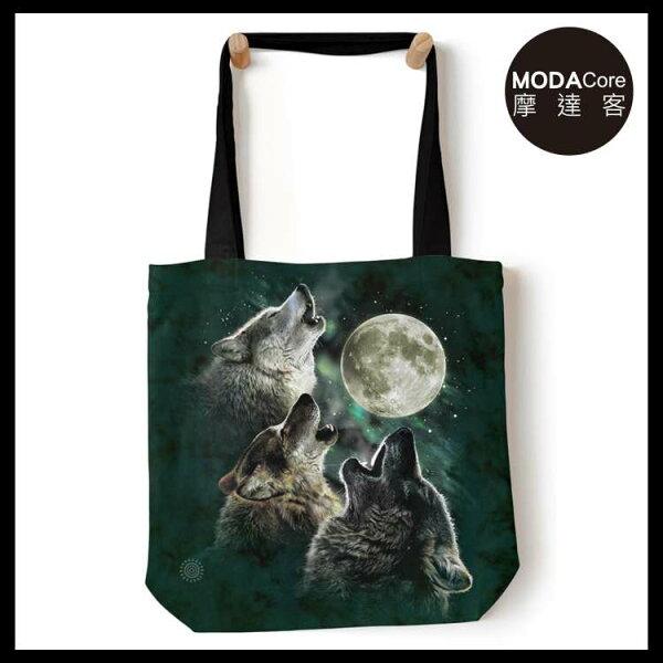 【摩達客】(預購)美國TheMountain三狼嚎月藝術環保托特包