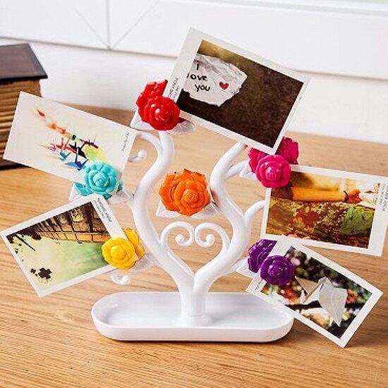 ♚MY COLOR♚玫瑰花朵磁鐵架 磁性 冰箱 鐵質 吸附 留言貼 裝飾 擺設 名片 紙條 立體【R64】