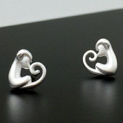 ~925純銀耳環耳飾~機靈俏皮猴子 七夕情人節 女飾品73gq11~ ~~米蘭 ~