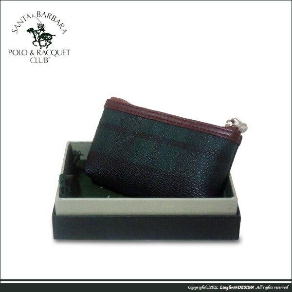 良林皮件:【SantaBarbaraPolo聖大保羅】綠格紋零錢包(小)SB38-01407