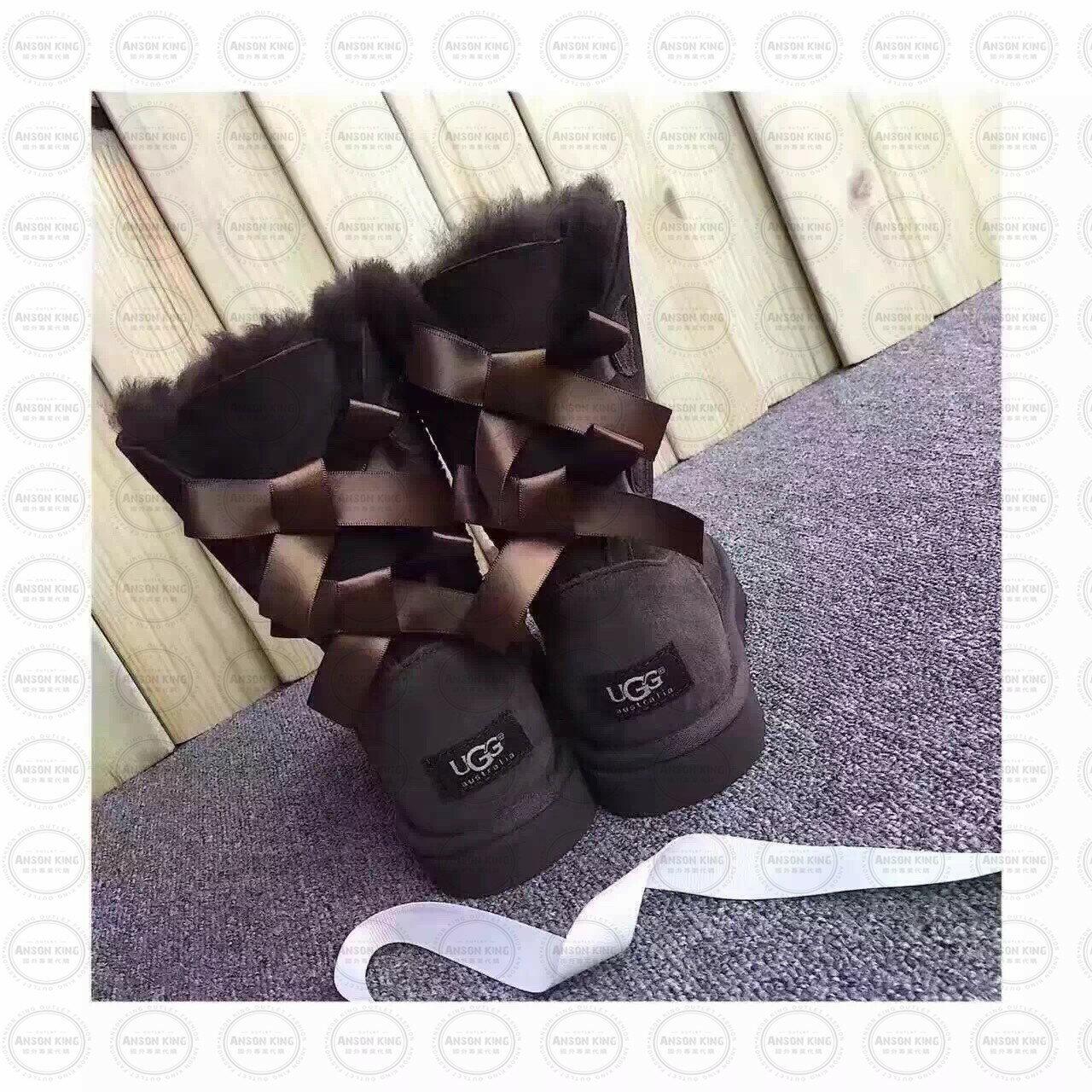 OUTLET正品代購 澳洲 UGG 蝴蝶結3280羊皮毛一體 中長靴 保暖 真皮羊皮毛 雪靴 短靴 深褐色 0