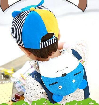 Lemonkid◆可愛眯眯熊造型雙層吸汗純綿紗布兒童吸汗巾-藍色