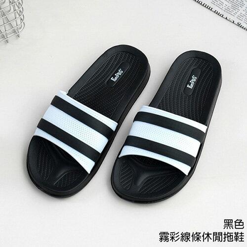 霧彩線條休閒拖鞋 71036-黑色27