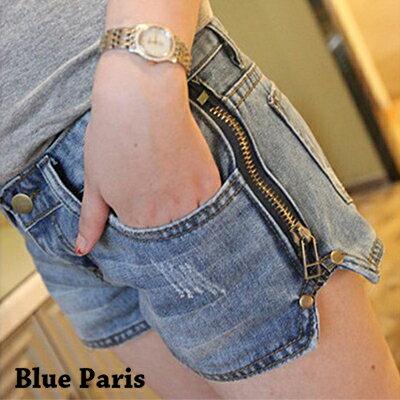 短褲 - 雙側拉鏈抓破牛仔短褲【23272】藍色巴黎 - 現貨商品 0