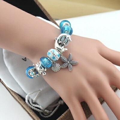串珠手鍊 手環-藍色海洋風系列水晶飾品時尚生日情人節禮物女配件73kc55【獨家進口】【米蘭精品】