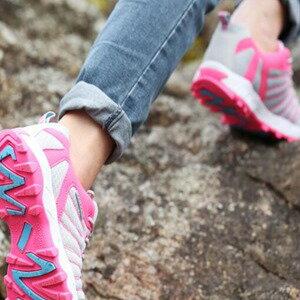 美麗大街【W1603】春秋戶外登山鞋運動鞋潮流情侶款透氣防滑耐磨底網面男女鞋(淺灰桃紅)