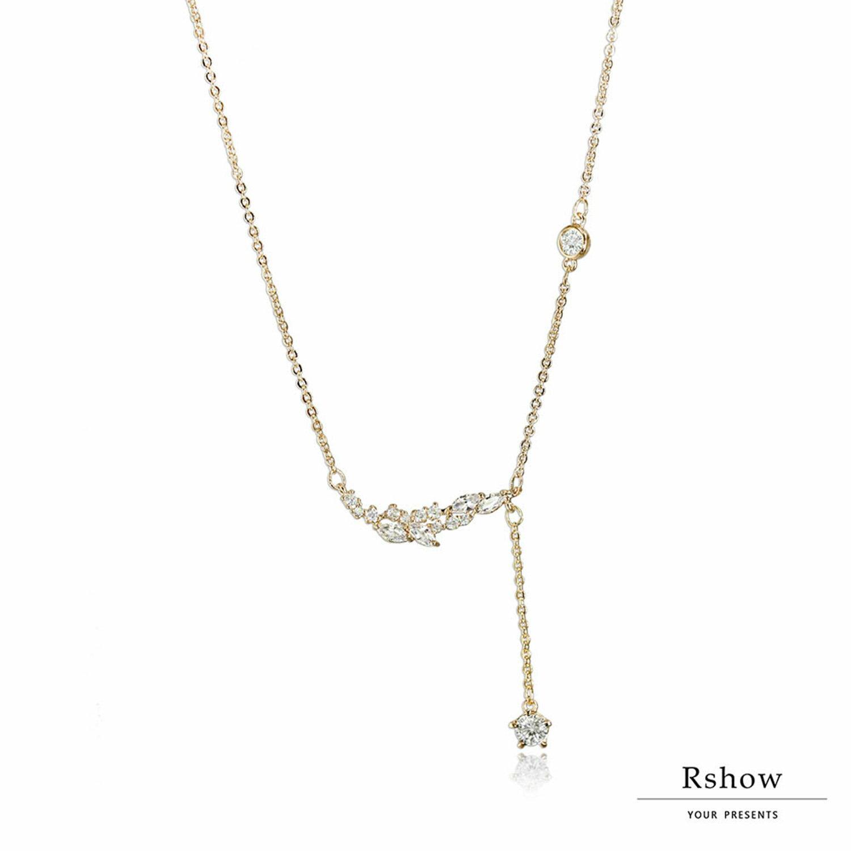 【Rshow】Spirit 希臘玫瑰金月桂葉 弧形垂墜鎖骨鍊 1