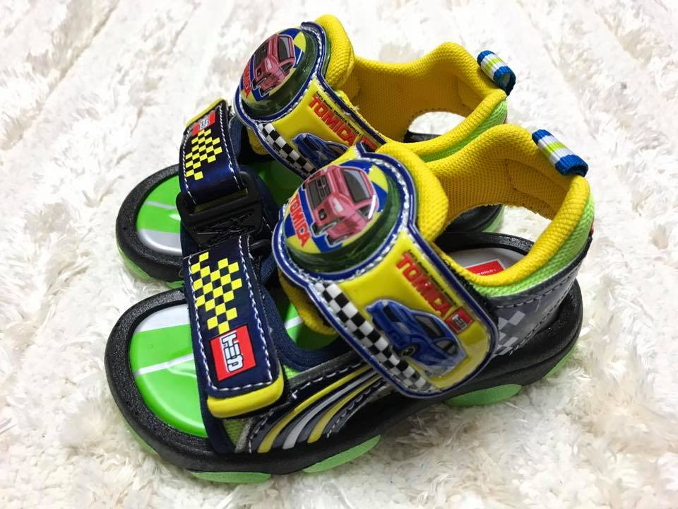【Jolove】卡通童鞋/TOMICA多美小汽车/轻便电灯凉鞋3630 黑绿