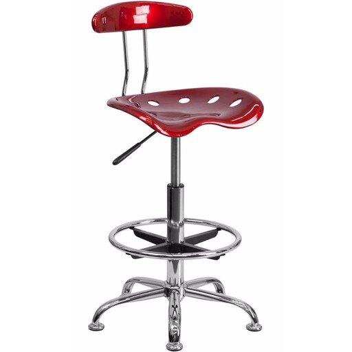 Offex Vibrant Wine Red and Chrome Drafting Stool with Tractor Seat [OF-LF-215-WINERED-GG] 7e7b4f5b191fd4ebe6648ef3ffe0d463