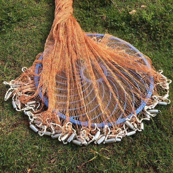 撒網手拋網魚網捕魚魚網手拋網輪胎線飛盤尼龍線拋網旋網捕魚自動LX