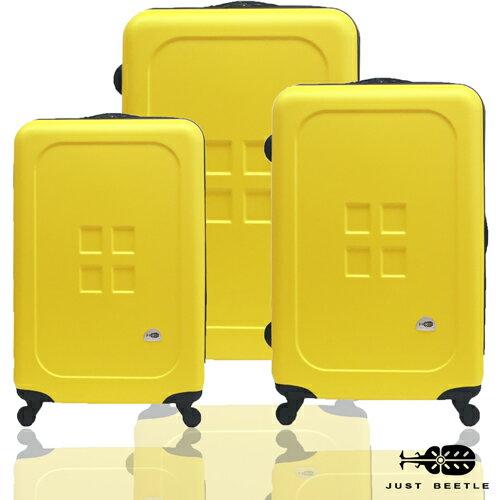 結帳現折$300?Just Beetle魔方鈕扣ABS霧面經典三件組輕硬殼旅行箱/行李箱