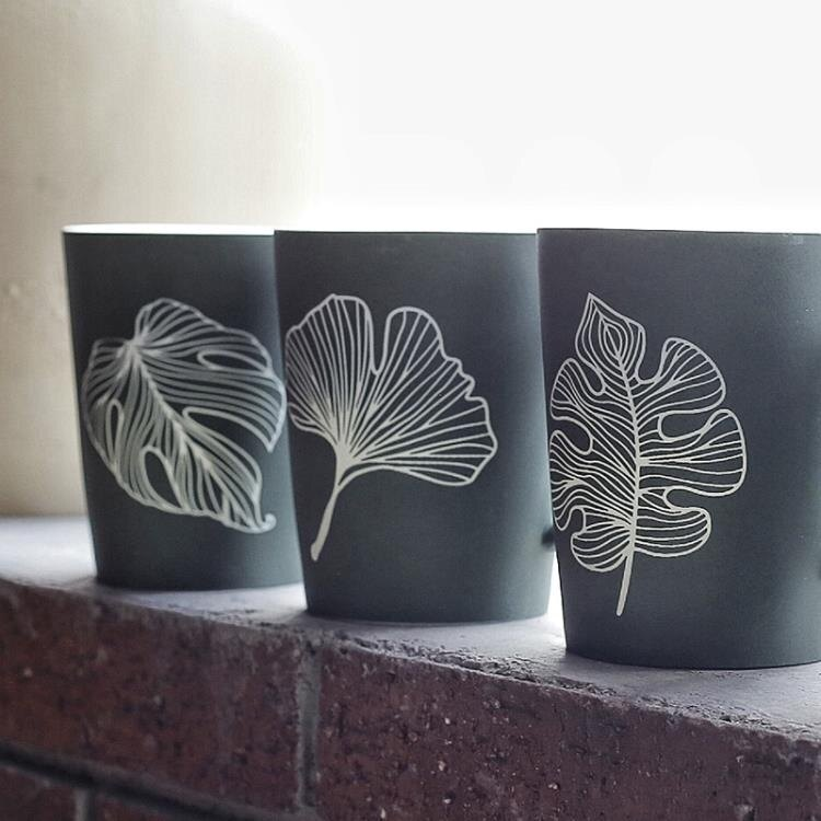 簡約樹葉水杯磨砂陶瓷杯子創意個性馬克杯帶蓋帶勺咖啡杯辦公大杯 LannaS 全館限時8.5折特惠!