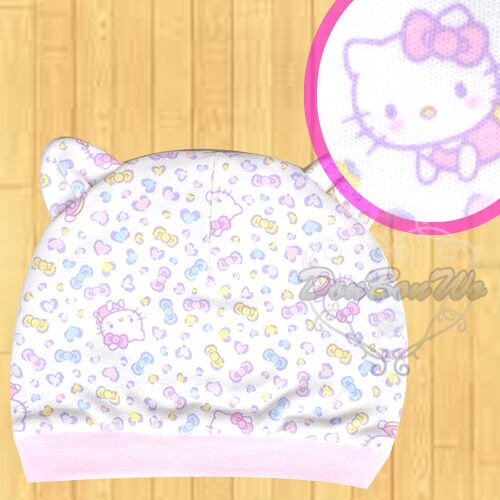 kitty彌月嬰兒帽純棉雙面豹紋多圖071233海渡