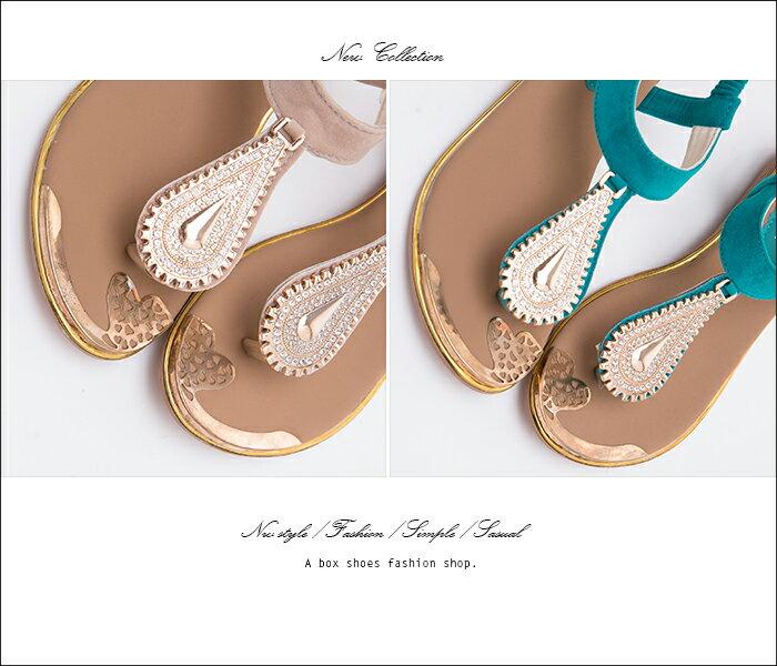 格子舖*【AD323A】嚴選流行華麗玫瑰金屬水鑽墜飾質感絨布 鬆緊帶人字夾腳涼鞋 3色 2