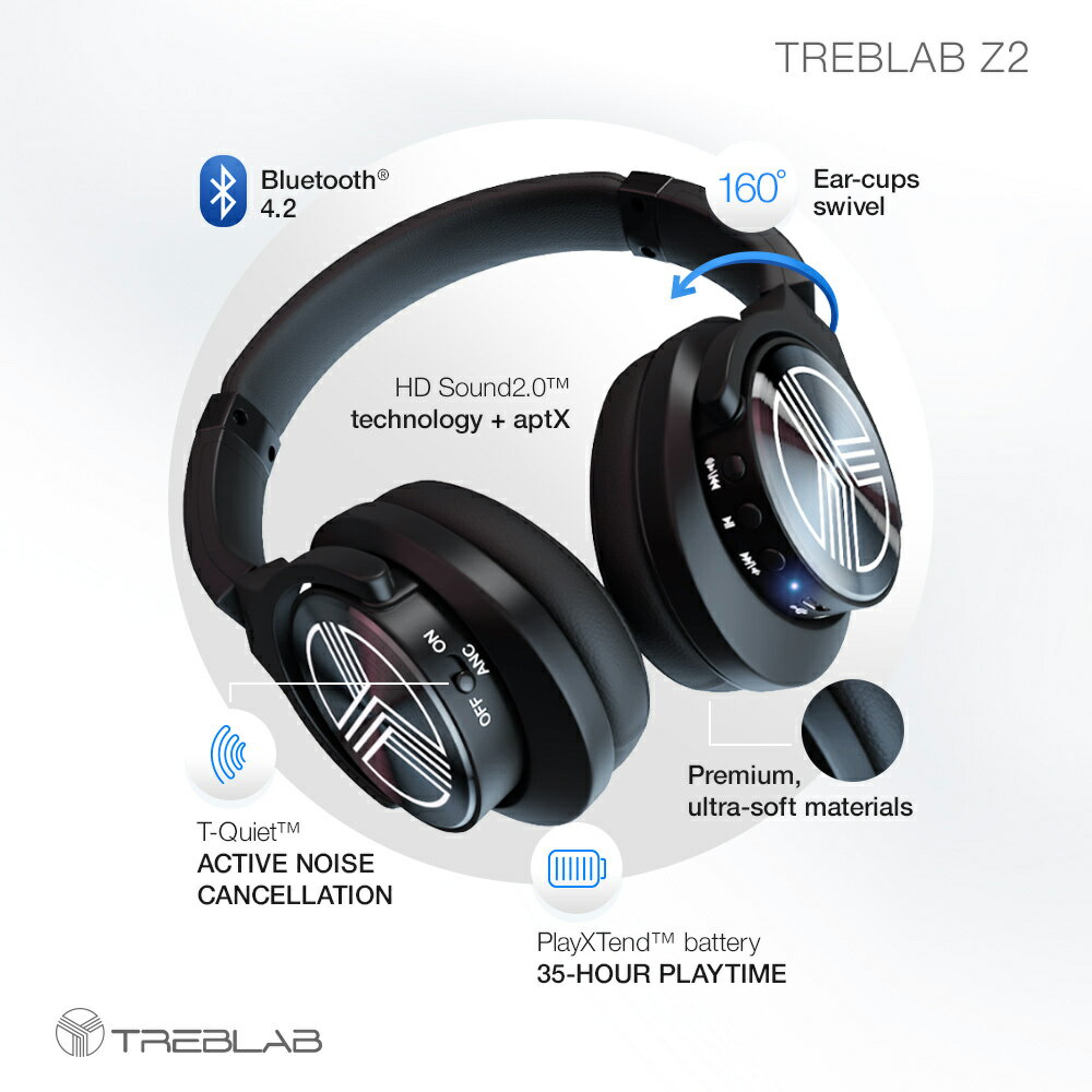 TREBLAB Z2 Wireless Active Noise Cancelling Over Ear Headphones with Long Battery Life of 35h, Stereo Sound, Bluetooth Headphones with Mic for Sport or Gym, Wired Headphones with Adjustable Headband 1