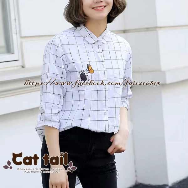 《貓尾巴》TS-0748韓版格子休閒短袖襯衫(森林系日系棉麻文青清新)