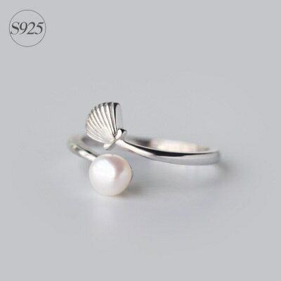 ~925純銀戒指珍珠開口戒~古典優雅貝殼 情人節生日 女飾品73dt286~ ~~米蘭 ~