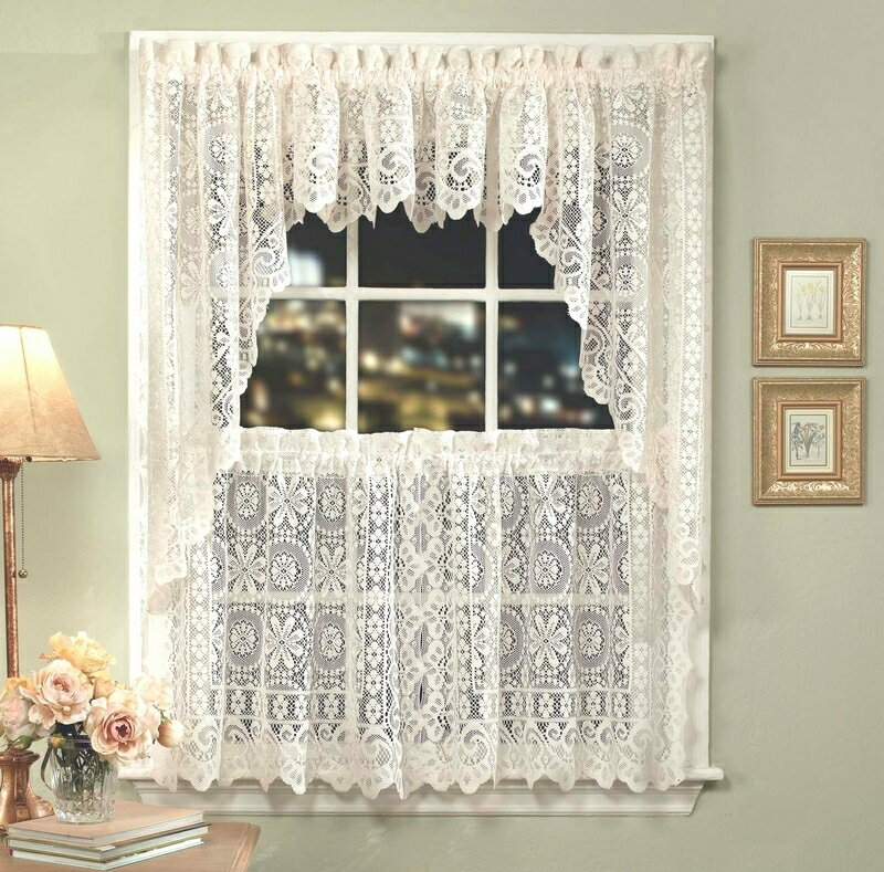Hopewell lace kitchen curtain valance - Cream