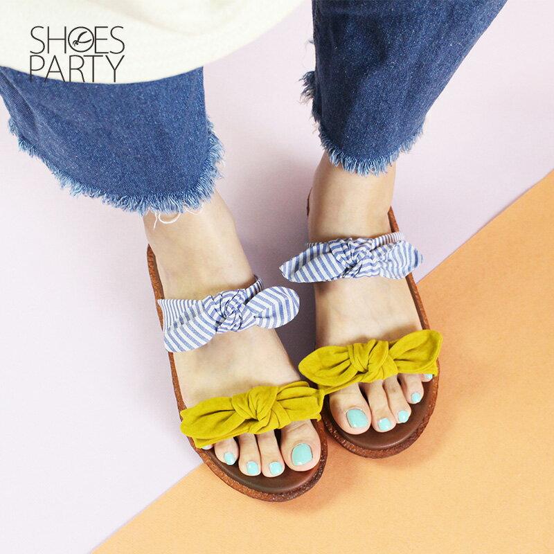 【S2-18707F】Simple+雙蝴蝶結漢堡底拖鞋_Shoes Party 2