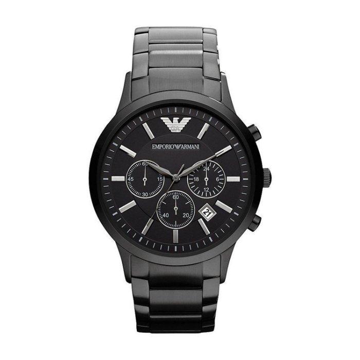 美國百分百【Emporio Armani】配件 EA 手錶 腕錶 男錶 石英 老鷹 不鏽鋼 三眼 計時 消光黑 AR2453 H841