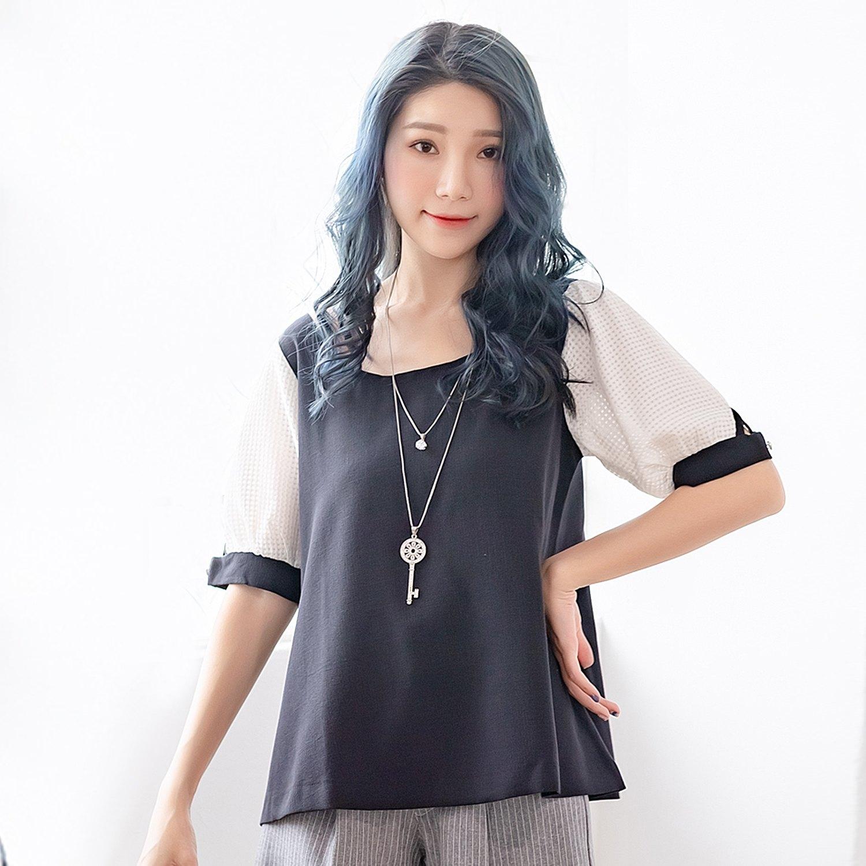 棉衫--極致性感甜美風情圓領交叉美背格紋綁帶袖棉衫(黑.藍XL-5L)-U399眼圈熊中大尺碼 0