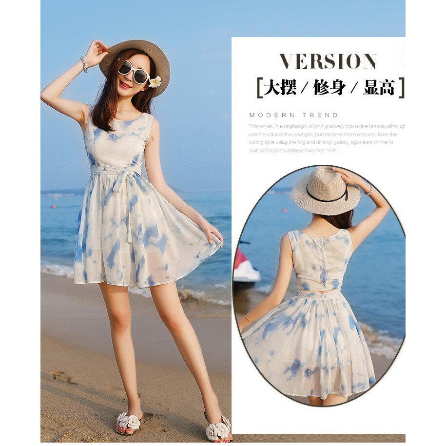 韓版時尚潮流xs夏無袖雪紡洋裝波西米亞海邊沙灘裙小個子女裝顯高店150cmLB13977《小蘿莉》 6