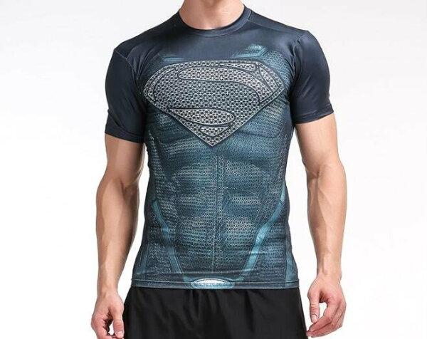 FINDSENSEMD日系時尚男高彈力緊身運動短T訓練服跑步健身T恤3DS標誌圖案短袖T恤
