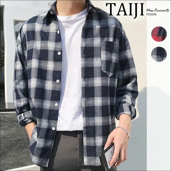 格紋長袖襯衫‧單口袋多線條雙色格紋落肩長袖襯衫‧二色【NJ0610】-TAIJI-