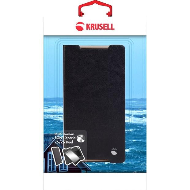 (贈專用保貼+支架)Krusell 側掀皮套/SONY Xperia Z5/保護皮套/書本套/手機殼/側翻套【馬尼通訊】