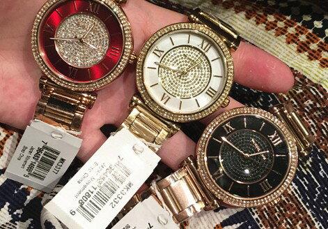 美國Outlet正品代購 MichaelKors MK 復古羅馬滿天星貝殼面鑲鑽金色    手錶 腕錶 MK3332 5